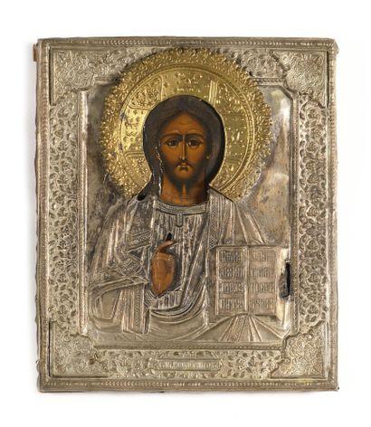 ICONE « CHRIST PANTOCRATOR »  Tempera sur...