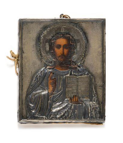 Icône « Christ Pantocrator »  Tempera sur...