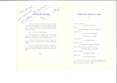 LIFAR SERGE (1905-1986) - AUTOGRAPH  Menu for the gala dinner of the illustrious...
