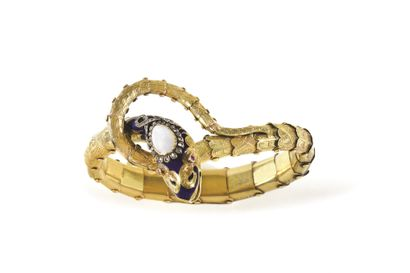 BRACELET EN FORME DE SERPENT  Or, diamants...