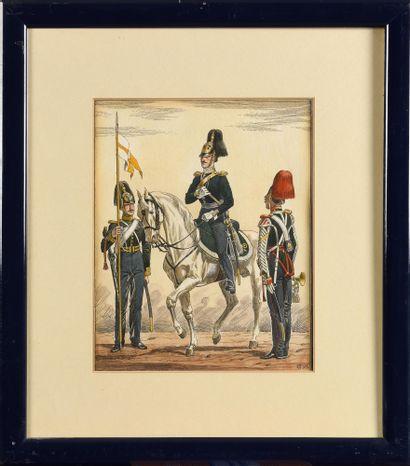 LOT DE 4 LITHOGRAPHIES SUR LE SUJET  DE L'ARMEE IMPERIALE. 25 x 20,5 cm. C.1930....