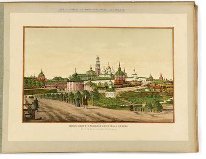 ALBUM AVEC 10 LITHOGRAPHIES COLORIEES  représentant plusieurs vues du monastère...
