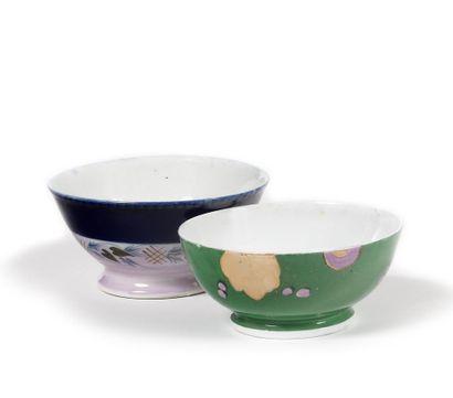 DEUX BOLS  Porcelaine peinte  Manufacture...