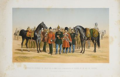 ENGRAVING.  Squires and saddle horses of...