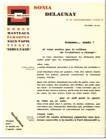 DELAUNAY SONIA (1885-1979)  Tract publicitaire...