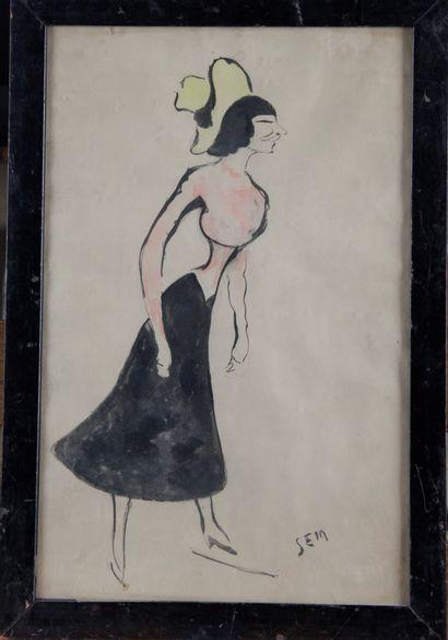 SEM (1863-1934) « Femme à la robe noir »...