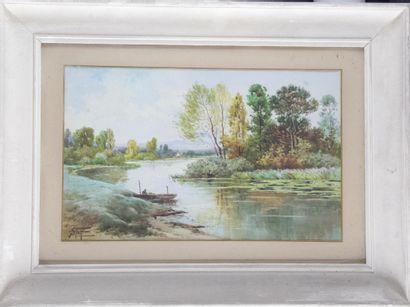 Ecole française du XIXe siècle « barque sur...