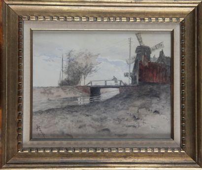 Ecole XIXe « le moulin en hollande ». Aquarelle...