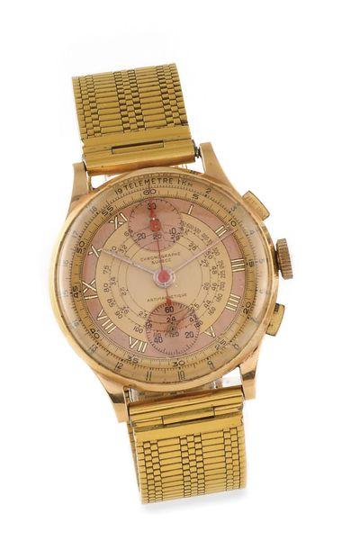 CHRONOGRAPHE SUISSE Vers 1960. Montre bracelet...
