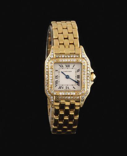 CARTIER Modèle Panthère Vers 1990 Ref : 8057915/02285 Montre-bracelet or jaune 18k...