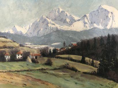 GIRARD (XXe)  Paysage de montagnes enneigées...