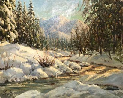 LVOFF (XXe siècle)  Paysage de forêt enneigée...