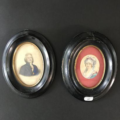 Paire de MINIATURES  Portrait gravé de Charles-Maurice...