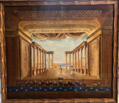 FIXE SOUS VERRE à décor d'un opéra  47 x...