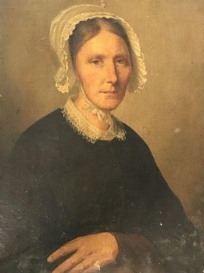 ECOLE FRANCAISE DU XVIIIe siècle  Portrait de femme  Huile sur toile rentoilée  Usures...
