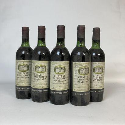 5 bouteilles CHÂTEAU LABEGORCE 1973 Margaux...