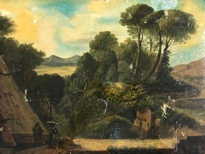 ECOLE FRANCAISE DU XIXe  Paysage animé d'italiens...