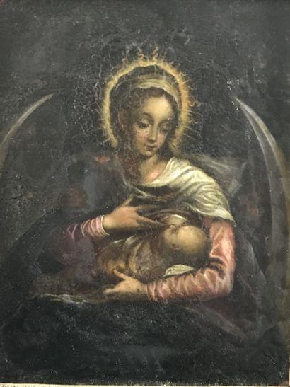 Ecole Française du XVIIe siècle  Vierge allaitant...