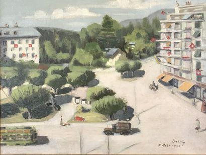 DODDIN (XXe siècle)  Vue de Genève  Huile...