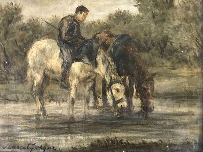 Marcel JACQUE (1906-1981)  Cavalier et deux...