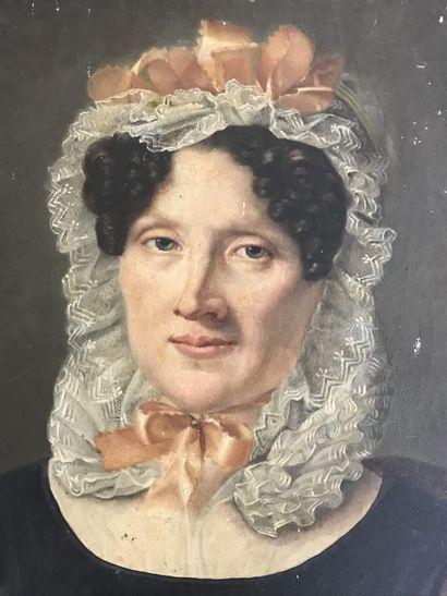 ECOLE FRANCAISE DU XIXe  Portrait de gouvernante...