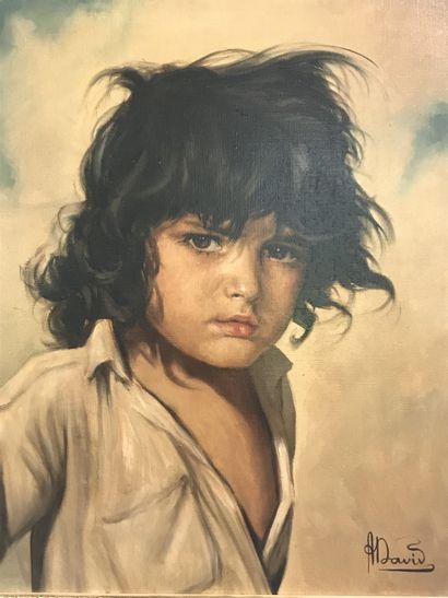 André DAVID (XIX-XX)  Portrait de jeune gitan...