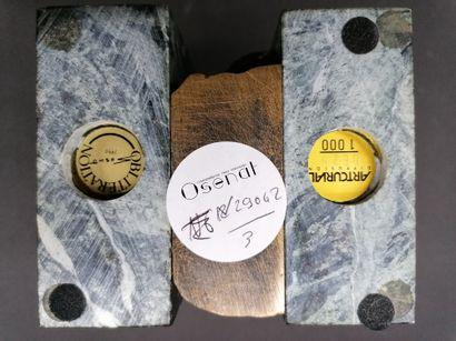 SOSNO  Oblitération  1990  Sujet en bronze et marbre  Titré, signé et daté d'une...