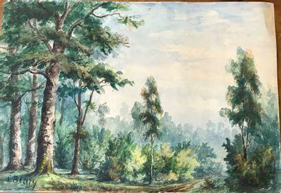 ECOLE FRANCAISE DU XXe siècle  Deux peintures...