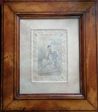 ECOLE FRANCAISE DU XIXe siècle  Dessin au crayon  Portrait de jeune garçon en tenue...
