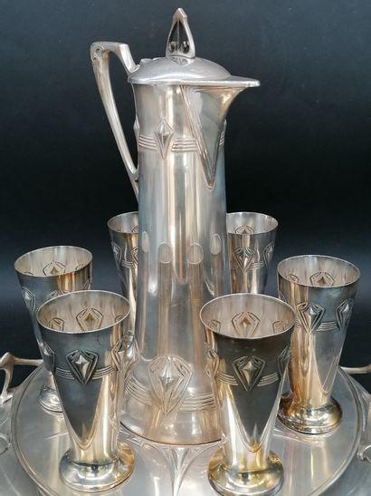 WMF (Württembergische Metallwarenfabrik)  Nice Art Nouveau silver plated wine set...