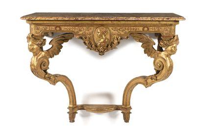 CONSOLE en bois mouluré, sculpté et doré,...