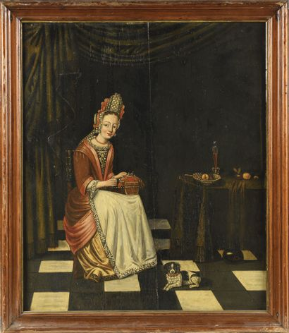 ECOLE FLAMANDE VERS 1700 Jeune femme à la...