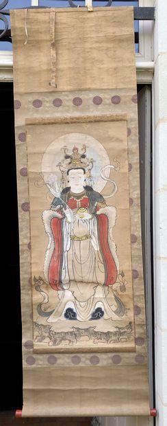 CHINE  ROULEAU peint sur soie...