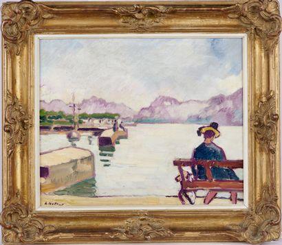 LOUIS VALTAT (1869-1952) Le lac du Bourget, femme assise sur un banc, 1939 Huile...