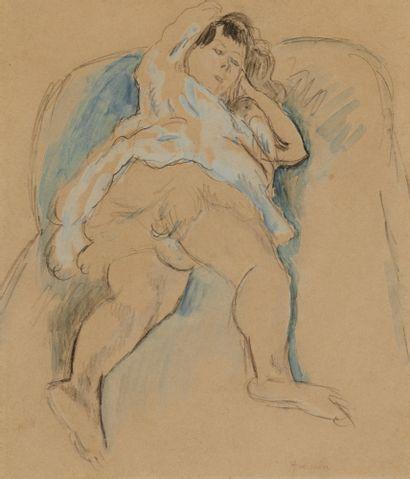 JULES PASCIN (1885-1930) Femme allongée Gouache...