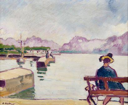 LOUIS VALTAT (1869-1952) Le lac du Bourget,...