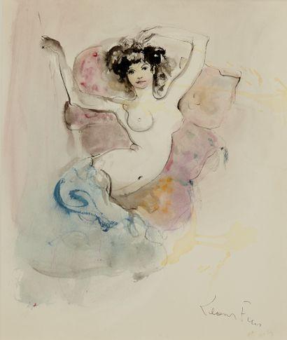 LEONOR FINI (1907-1966) Modèle alangui Aquarelle...