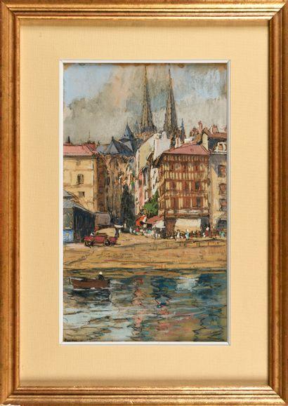HENRI JEAN PONTOY (1888-1968) Rue animée...