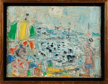 ANDRÉ COTTAVOZ (1922-2012) Plage et Soleil,...