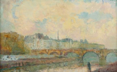 ALBERT LEBOURG (1849-1928) La Seine à Paris...