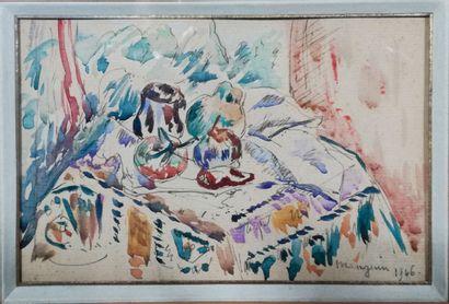 HENRI MANGUIN (1874-1949) Fruits sur table,...