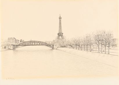 GEORGES ROHNER (1913-2000) Vue de Paris Dessin...