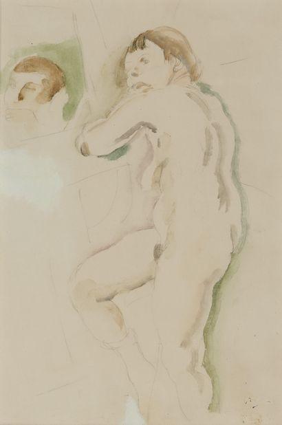 JULES PASCIN (1885-1930) Nu au miroir Aquarelle...