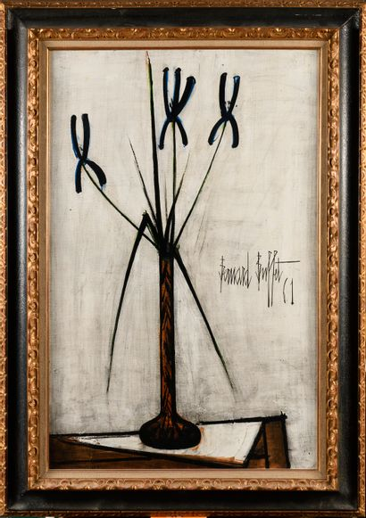 BERNARD BUFFET (1928-1999) Iris dans un vase,...