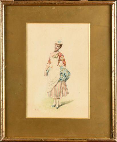 Marie GARAY (1861-1953) Jeune femme au fleur...