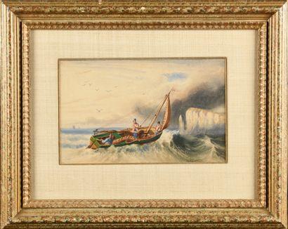 Newton FIELDING (1799-1856) Pêcheurs en mer...
