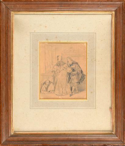 Eugène DEVÉRIA (1808-1865) Scène galante...