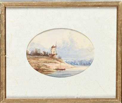 Eugène CICÉRI (1813-1890) Le moulin Aquarelle...
