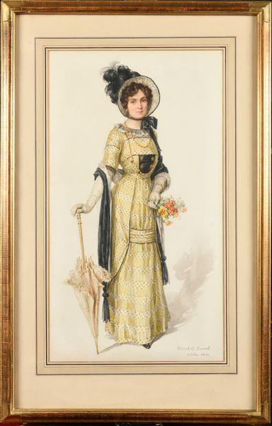Élisabeth SONREL (1874-1953) Elégante à l'ombrelle,...