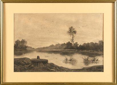 Auguste ALLONGE (1833-1898) L'étang Fusain...